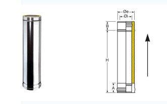 LONGUEUR 1M DOUBLE PAROI DIAM 130 ISOLE 25mm