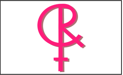 """A shape like the gender symbol for """"female"""" (a circle with a small 't' or cross underneath) but adapted so the top has the letter C and R in it, rather than the usual circle. It is hot pink with darker pink shading"""