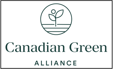 """The Canadian Green Alliance logo, which is a dark green circle containing a stage with a leaf growing from it and the words """"Canadian Green Alliance"""" under it"""
