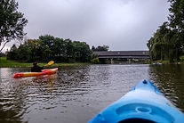 Kayaks by covered bridge in Frankenmuth