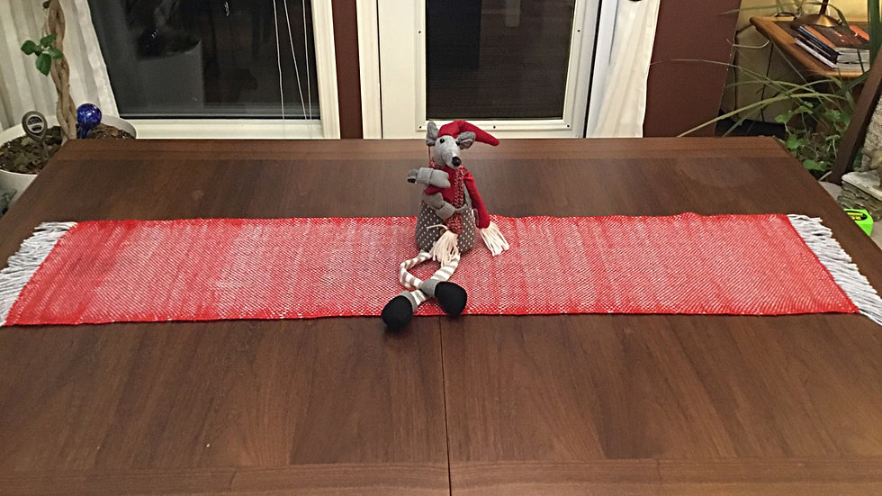Red and beige Table Runner Handwoven