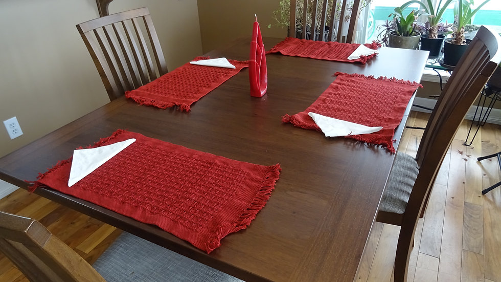 Red cotton Placemat set