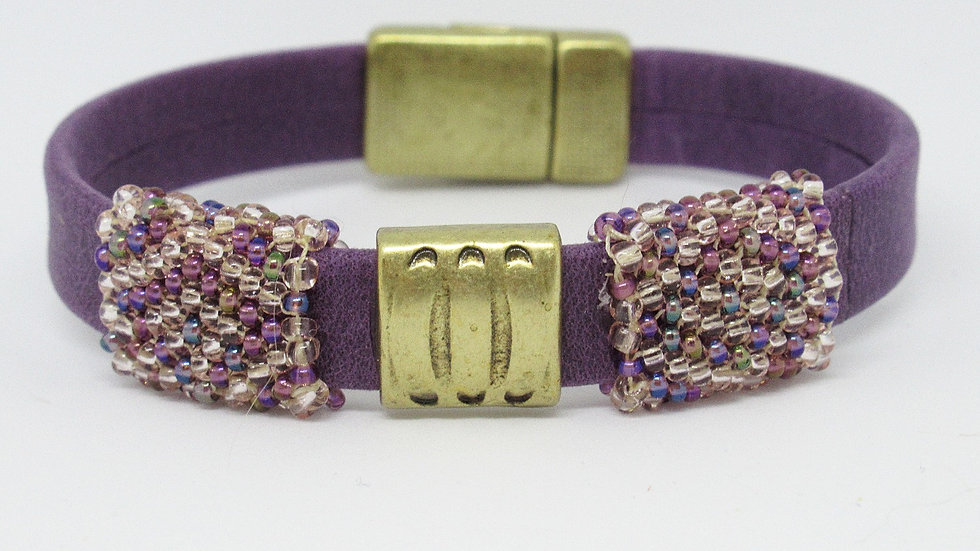 Purple leather flat band bracelet with golden-purple hand beaded sleeves