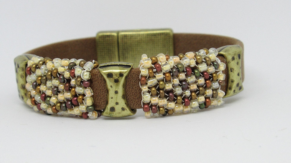 Light brown leather-suede flat band bracelet with hand beaded ivory-light browne