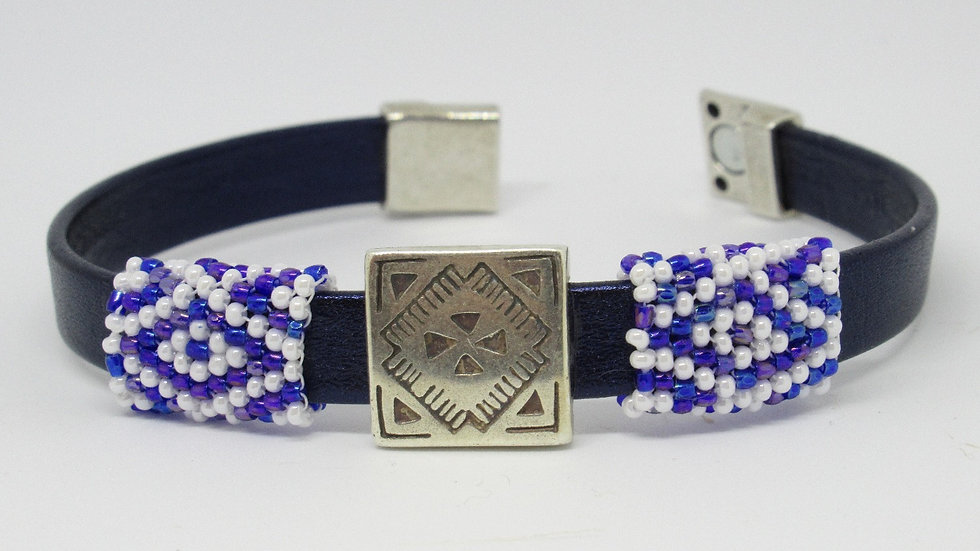 Navy leather flat band bracelet with blue-purple-white hand beadedsleeves