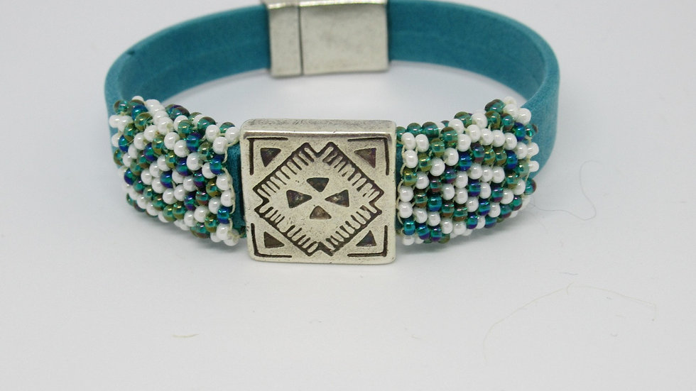 Turquoise flat band leather bracelet with hand beaded turquoise-white sleeves