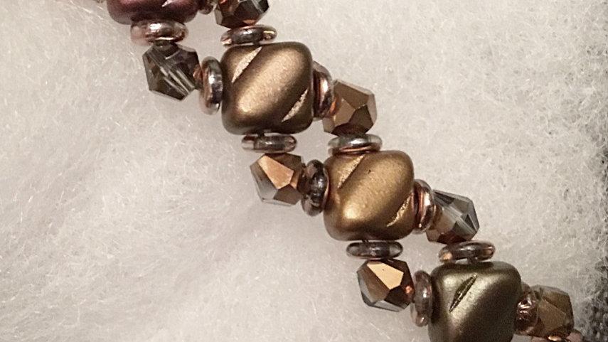 Beaded bracelet multicolor brown crystals