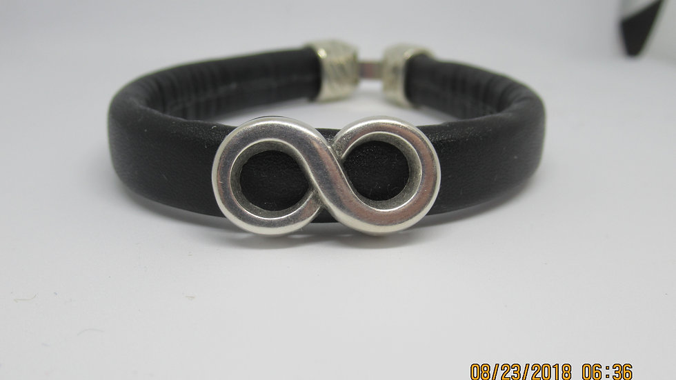 Man's bracelet leather band with infinity sign