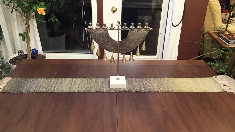 Green-Brown-Ivory Table Runner Handwoven