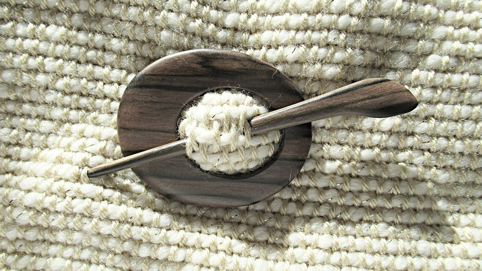 Wooden  oval scarf brooch with stick