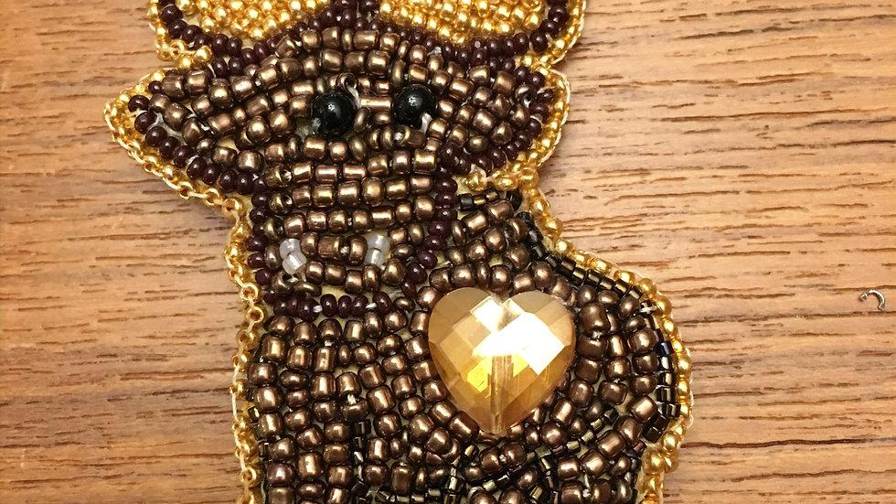 Moose brooch gold and brown/ Orignal