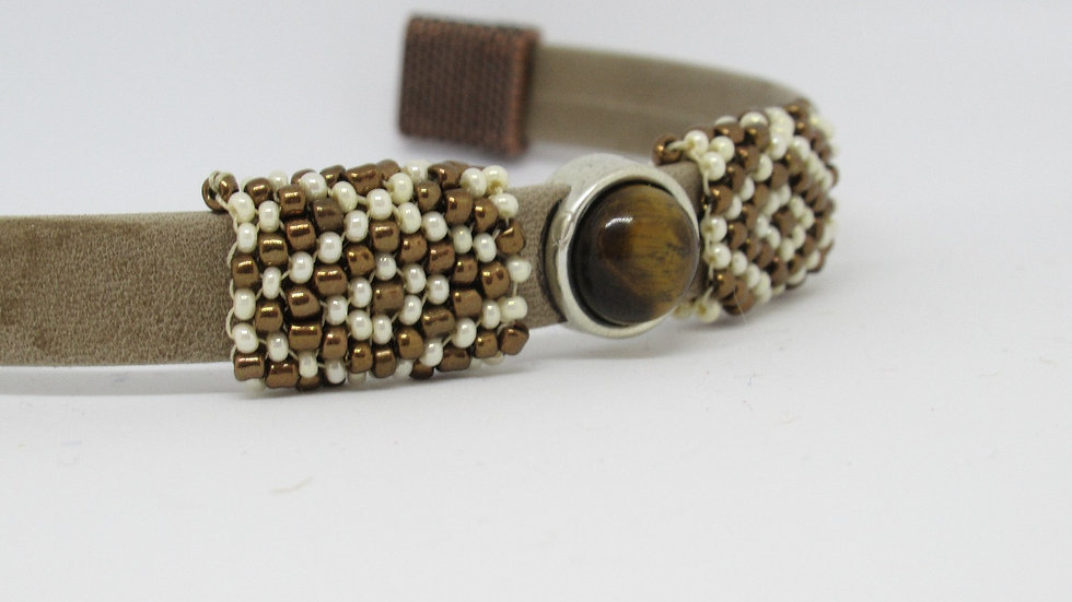Leather-suede flat tan bracelet with hand beaded sleeves
