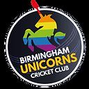 Birmingham Unicorns Cricket Club logo featuring a rainbow unicorn