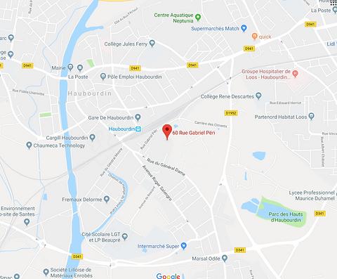 Cartographie de la ville d'Haubourdin avec google maps