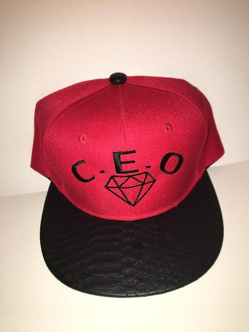 Black & red leather snakeskin Hat