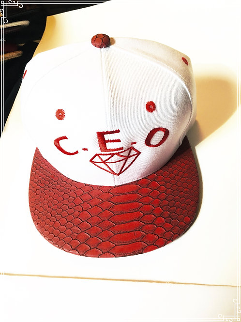 Red leather snakeskin brim