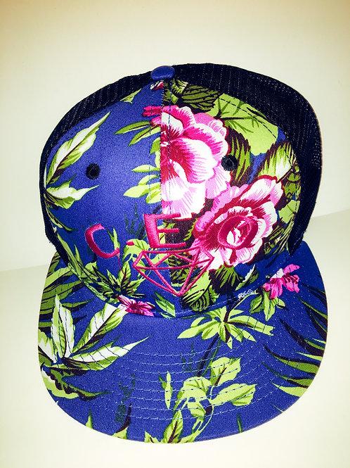 Blue & pink floral trucker hat