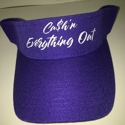 Cursive CASH'N EVERYTHING OUT visor hat