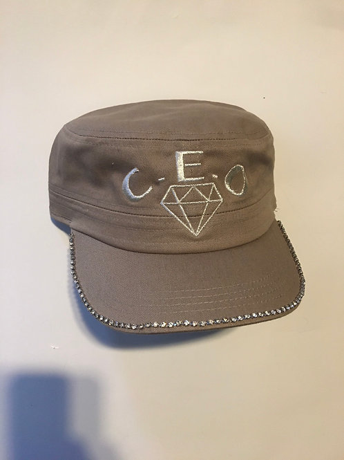 Ladies gray bucket diamond brim hat