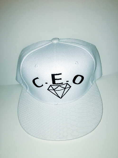 Cocaine white leather snakeskin hat