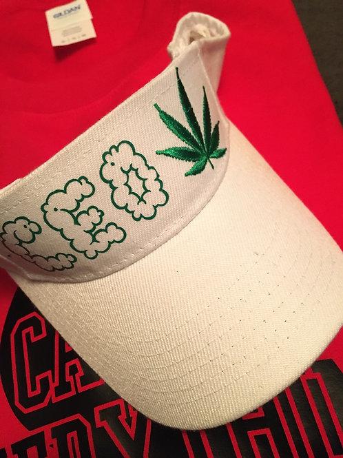 420 smoke cloud white  visor hat