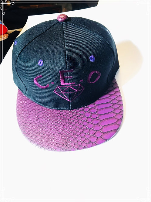C.E.O purple rain leather snakeskin hat