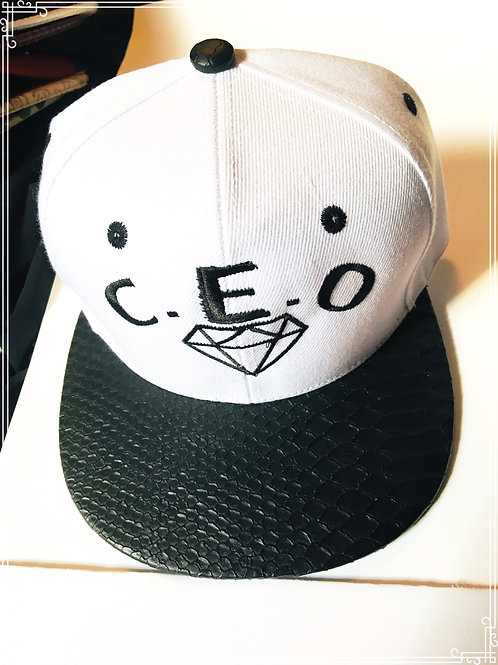 C.E.O leather snakeskin brim hat