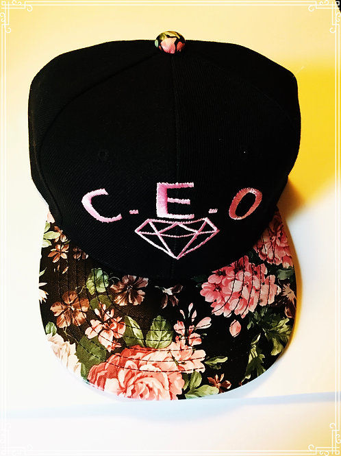 Floral leather brim with diamond logo
