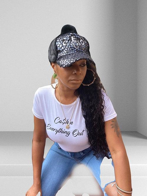 Ladies t-shirt w/cursive logo print
