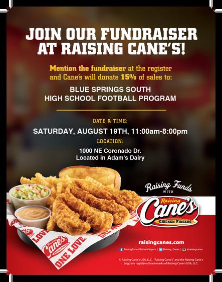 Hungry? Raising Cane's 15% Fundraiser!