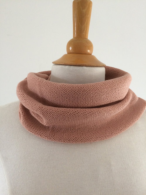 Apricot Hand Crafted Snood in 100% Merino Wool