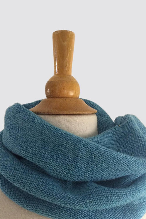 Turquoise Hand Crafted Snood in 100% Merino Wool