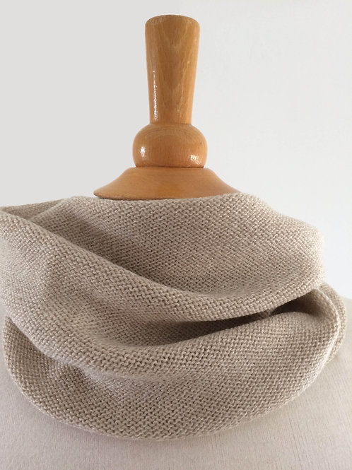 Oatmeal Hand Crafted Snood in 100% Merino Wool