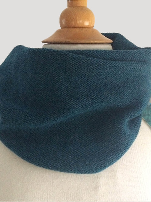 Teal Hand Crafted Snood in 100% Merino Wool