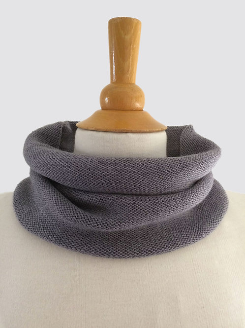Slate Grey Hand Crafted Snood in 100% Merino Wool