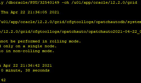 """Apr 21 12.2 GI PSU fails with """"OPATCHAUTO-72141: Grid is installed only on a single node"""""""
