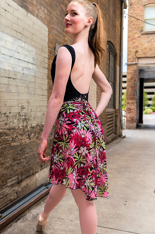 Tropical Pink Vintage Wrap Skirt