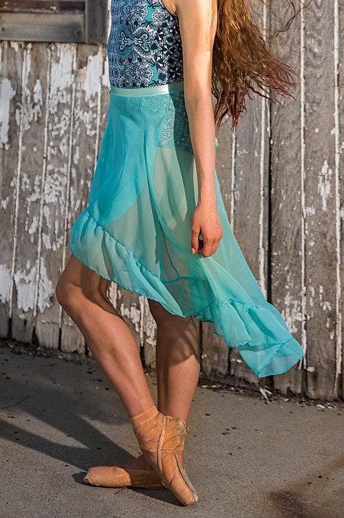 Aqua Ruffled Rehearsal Skirt