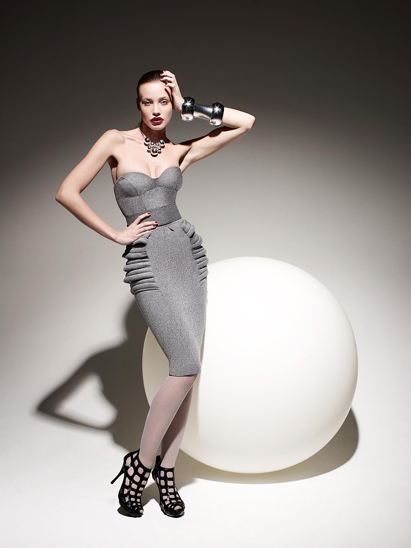 Sculpted Grey Flannel Dress