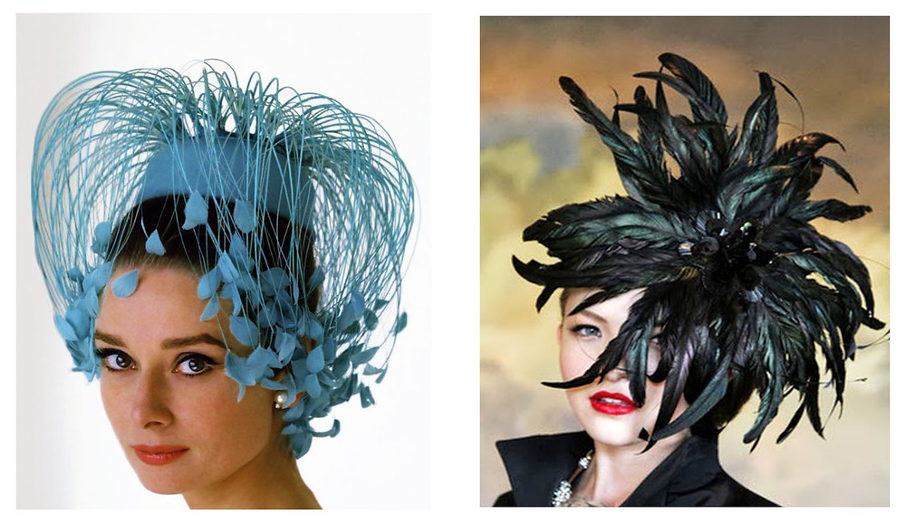 L/ Givenchy R/ Lloyd Klein feathered hats