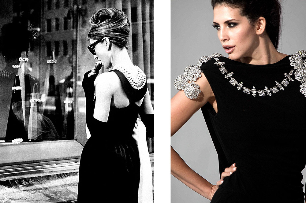 Audrey Hepburn in Givenchy for  Breakfast at Tiffany's on left | Hope Dworaczyk Smith in Lloyd Klein on right