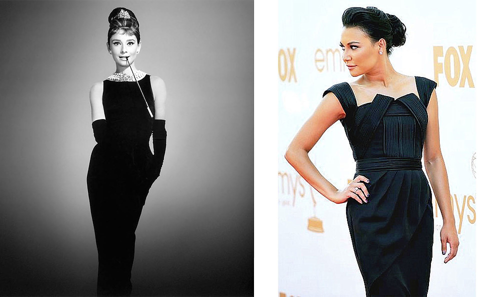 Audrey Hepburn in Givenchy on left and Naya Rivera wearing Lloyd Klein on right