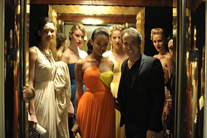 Lloyd Klein and his models backstage at the Beverly Hills Hotel Fashion Show