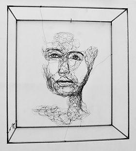 2019.17, Etude de visage, 47x43x20cm, gr