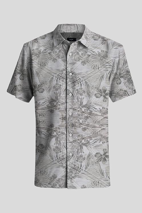 Short Sleeve Shirt Grey Palm Trees