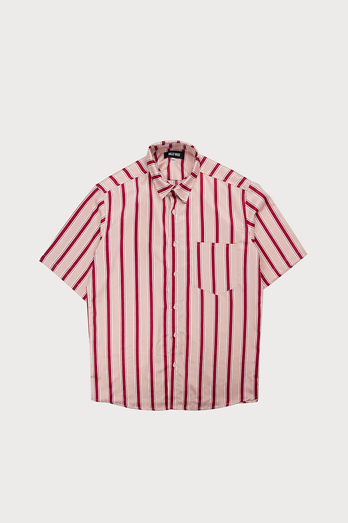 Pink Red Stripped Short Sleeve
