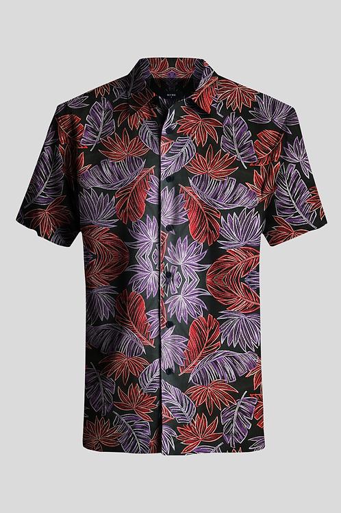 Short Sleeve Shirt Palms on Black