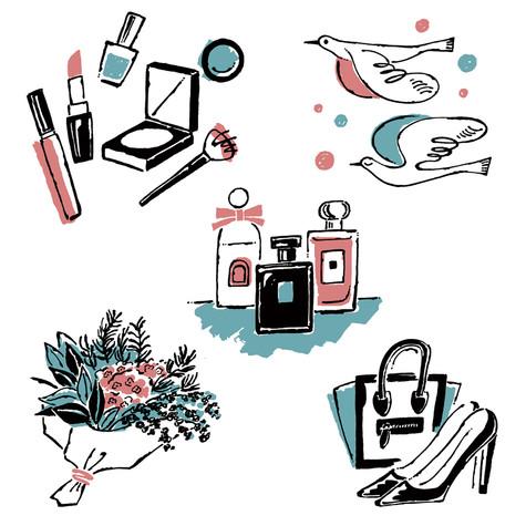 「いくつになっても変われる 大人のメイクレッスン」書籍イラストレーション