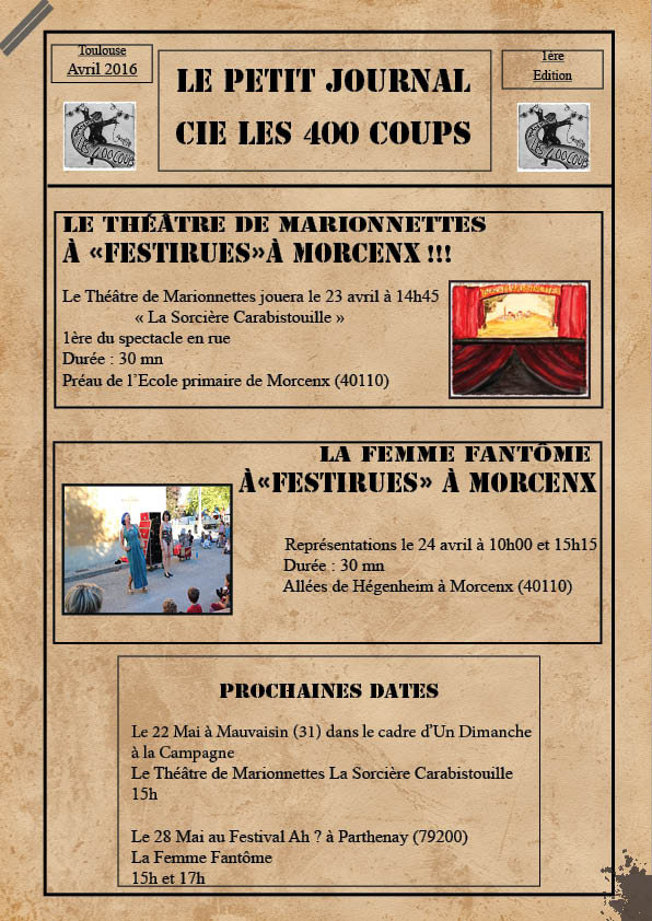 Le Petit Journal Cie les 400 coups - Avril 2016