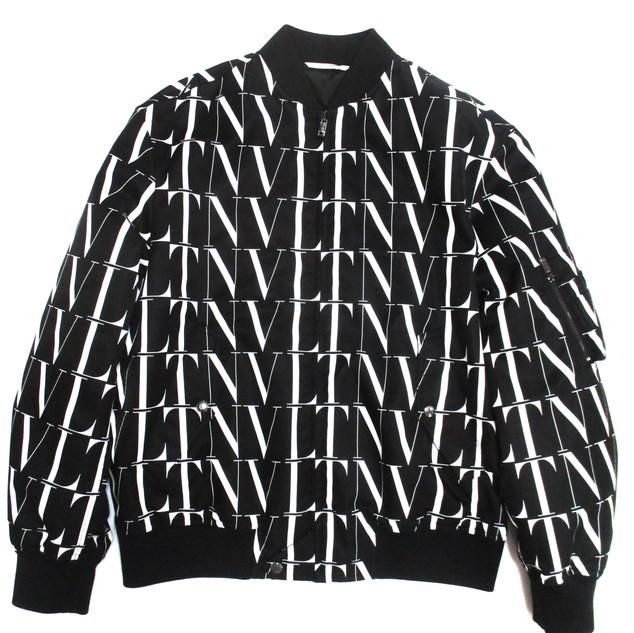 ヴァレンティノ(VALENTINO) メンズ アウター ジャケット ロゴ VLTN総柄ロゴプリント付ボンバージャケット バレンティノ バレンチノ ヴァレンチノ ブラック UV3CIF15 6G4 0NI